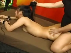 Japanese slave Chihiro gets toyed and her hair pulled before fucking