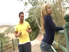 Petite blonde teen cutie takes his stiff rod in her juicy snatch outdoors