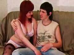 Busty redhead Russian gal goes down on his big cock and fucks