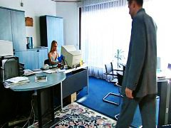 Blond secretary servic... video