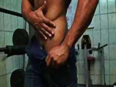 ebony, muscled, blowjob, sucking, cumshot