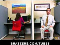 Hot brunette secretary sucks  fucks boss' big hard dick at work