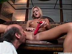 Solo Blonde With A Dildo