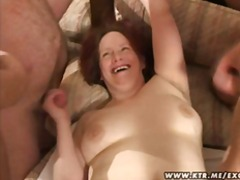 blowjob, gangbang, redhead, group sex, amateur, facial, wife, bbw, mature, cumshot, group,
