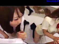 3 Schoolgirls Giving B... video