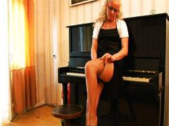 Horny piano teacher ba...