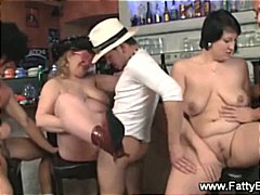 group, enjoying, mature, blowjob