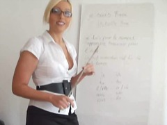 cumshot, glasses, nicetits, facial, pov (point of view), teacher, blonde, blowjob