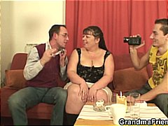 Fat bitch takes two cocks