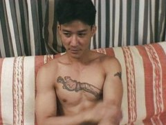 wanking, on, couch, asian, male, gay