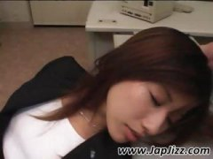Sleeping Asian secretary gets a load of cum on her hair to wake up