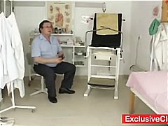 Hot young blonde Scarlet gets her snatch examined by the nasty old gyno doctor