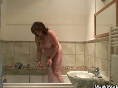 mother, big-tits, amateur, shower, bag