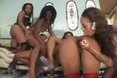 orgy, pussy licking, lesbian, black,