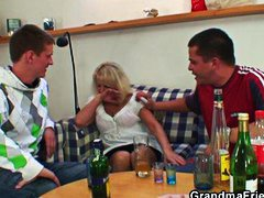 Drunk blonde granny in... video