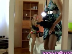 Mature lady helps blon... video