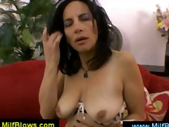 Thumb: Lusty brunette mom mas...