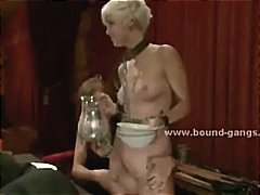 Blonde skinny punk caught after training and tied before getting
