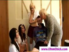 group, schoolgirl, british, handjob, cfnm,