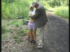 Lucky old man touching beautiful blonde babe