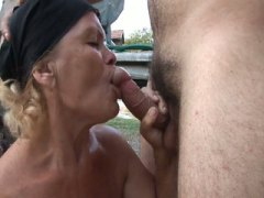 Slutty granny gets her wet shaved pussy drilled by young cock