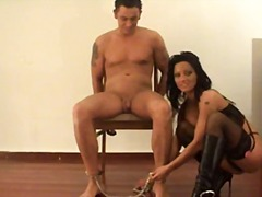 Nuvid Movie:Handcuffed guy lets bossy brun...