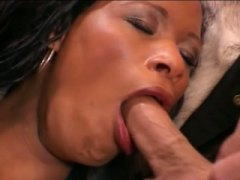 Ebony slut double rammed