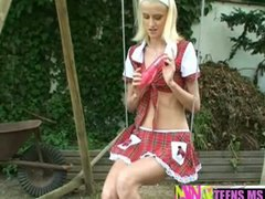 solo, blonde, swing, outdoor, dildo, teenclassic, girl, teen, on, outdoo