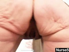Thumbmail - Blond granny nurse usi...