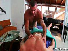 rubbing, gets, massage, glass, toy, guy