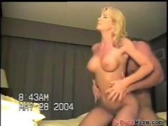 Busty, blonde, amateur wife gets fucked by her husband in the motel room on cam