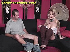 Blonde wife makes fun of hubby and his tiny dick and then sucks big black