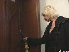 Blonde granny allows h... video