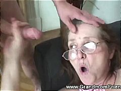 Horny granny gets faci... video