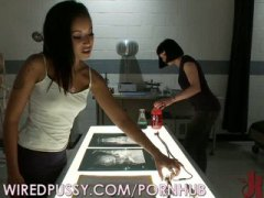 brunette, lesbian, slave, toys, adult-toys, spanked, interrogation, wired, bondage, orgy, girl-on-girl, strapon, wiredpussy.com, zapped, hardcore, bound, machines