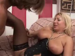 Italian mom in black corset fucked