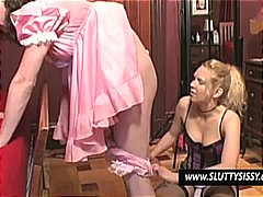 Crossdresser gets his pantied pulled down for upskirt ass toying