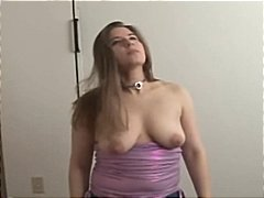 Busty brunette girlfriend gives him a hard handjob for cum