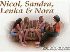 Three horny girls play... video