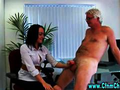 Horny cfnm office hotties video