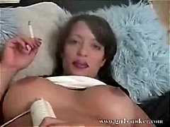 hot brunette smoking video