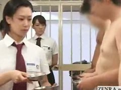 CFNM Japanese inmates line up for daily penis inspection handjob