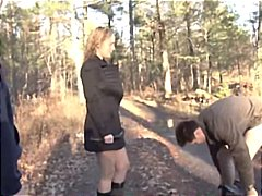 Blowjob in the woods w...