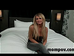 Blonde milf doing her debut adult video