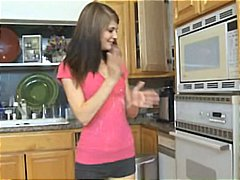 hardcore, hot, brunette, gets, teen, boner, kitchen