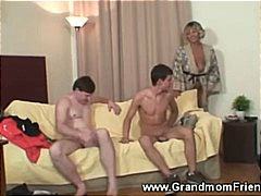 threesome, cocks, mature, older, sexy, grandma, sucks