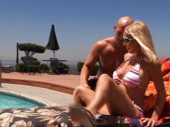 milf, blond, pool, boy, blonde, creampie,