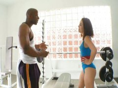 Kristina Rose fucked in gym for black
