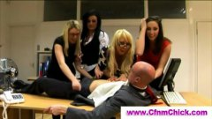 Working class cfnm ladies get revenge on the boss
