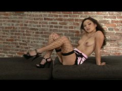 See: Horny brunette in stoc...